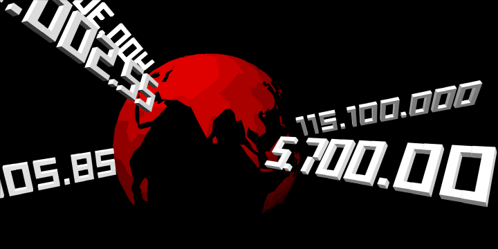 Screenshot des Films »Learning to Be a Tourist«: Rote Erde vor schwarzem Hintergrund, mit weißen Zahlen
