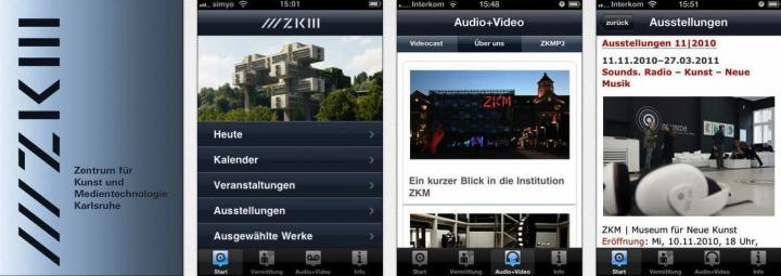 Screenshots der App »ZKM«