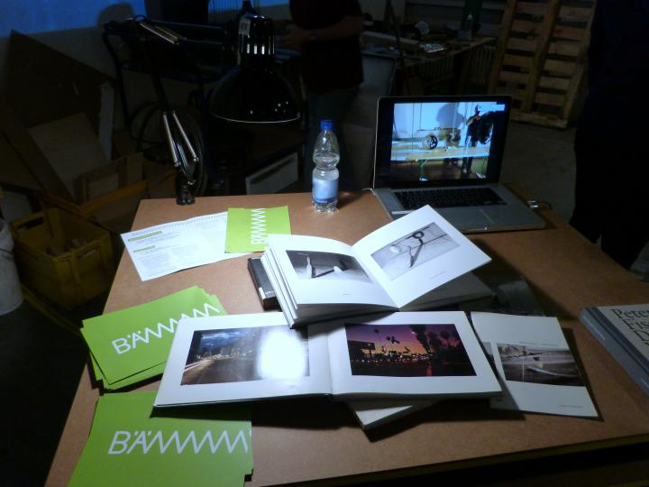 Books and postcards on a table