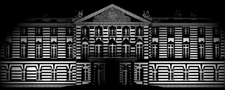 Die Schlossfassade in schwarz-weiß