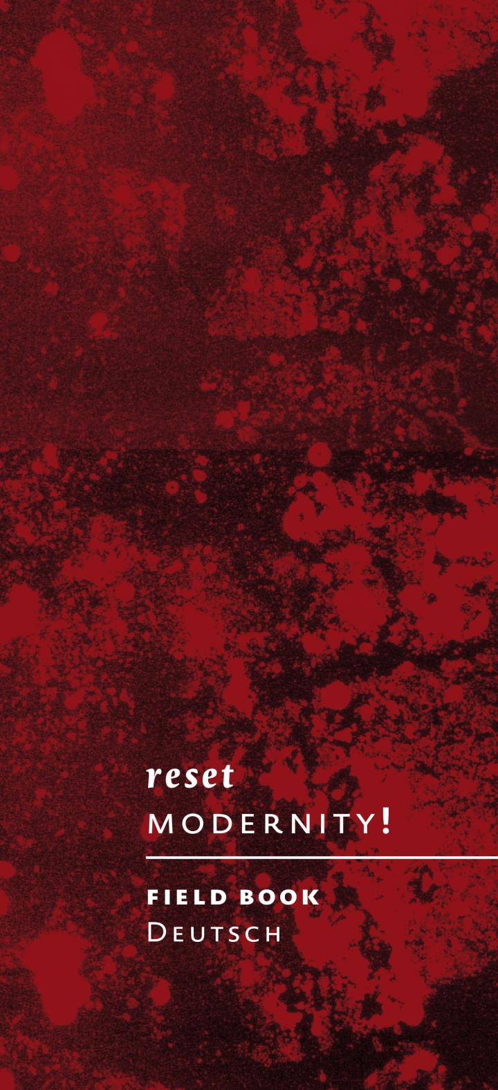 Cover of the brochure  »Reset Modernity«: Words on red ground