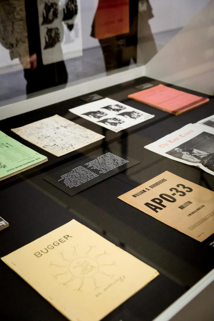 A display of papers and books