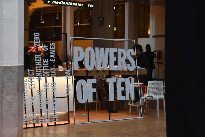 Flag with words »Powers of Ten«