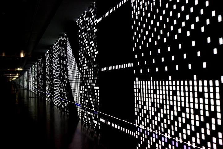 A black canvas with dotted LED structures, which seems to extend infinitely.