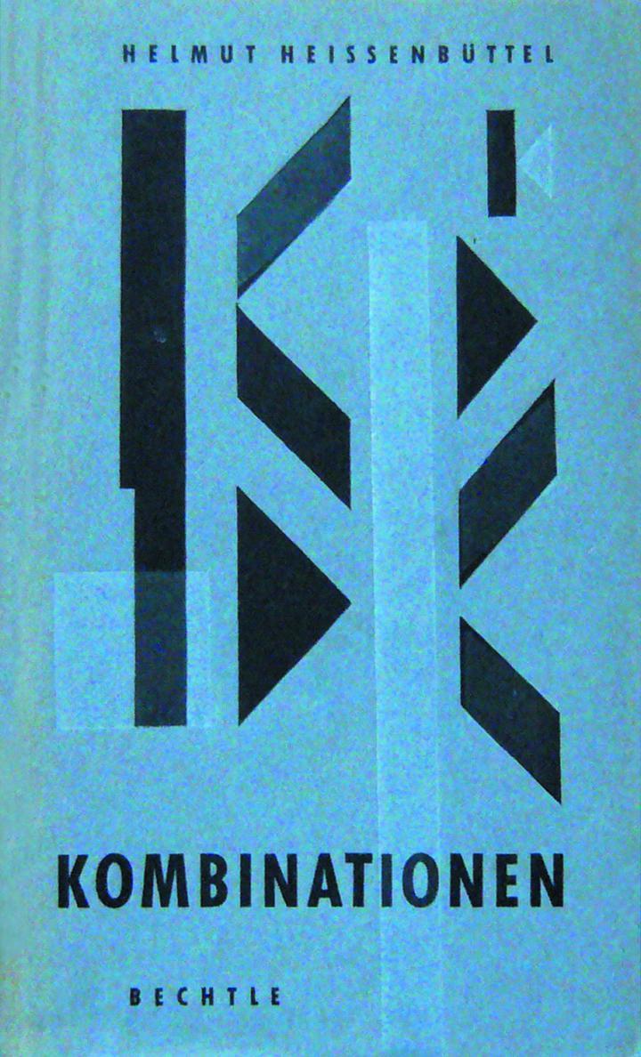 Ein blaues Buchband mit schwarzer Aufschrift und schwarzen geometrischen Formen.