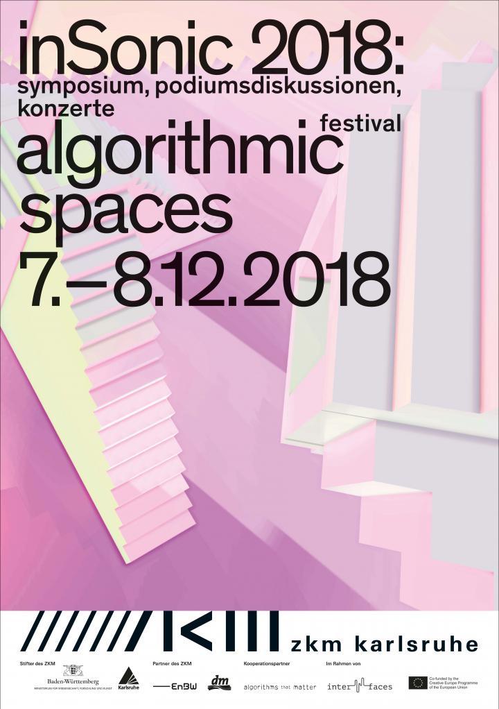 Cover der Publikation: inSonic 2018: algorithmic spaces. Schwarze Schrift auf hell-lila, hell-rosa, gelber, blauer Grafik
