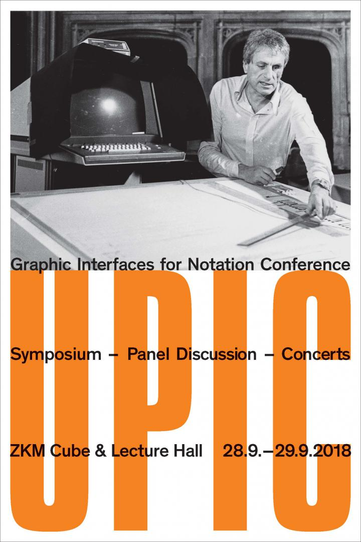 Publication cover: UPIC. Orange font and a black and white photograph showing a man working on a computer program that digitally translates graphic notation into sound.