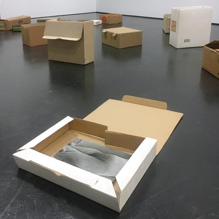 Braune Pappkartons, im Raum verteilt