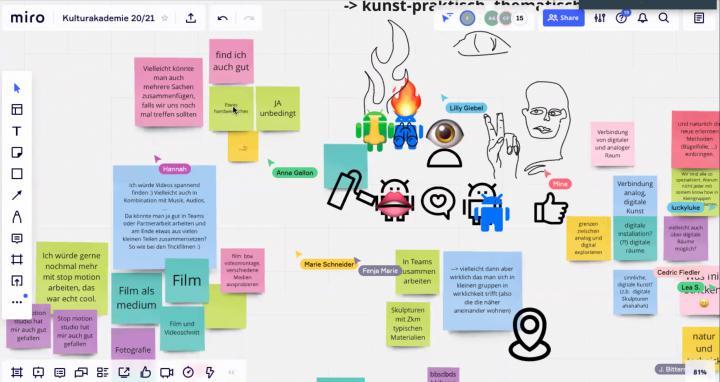 Auf dem Bild ist ein Screenshot von einem Ideenboard mit verschiedenen Zeichnungen und Notizen zu sehen, die im Rahmen der Kulturakademie Baden-Württemberg 2020/21 entstanden sind.