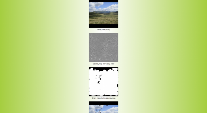Greenish background with several interspersed photographs and images with subtitles