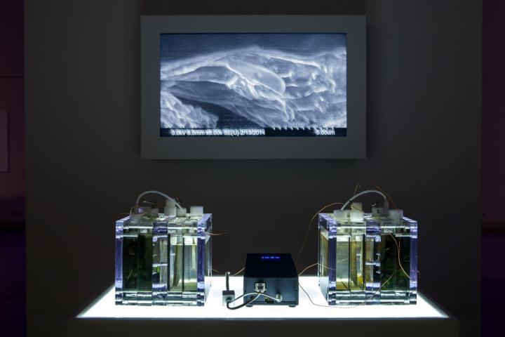 Installation mit erleuchteten Behältern, einer Batterie und einem Bildschirm im Hintergrund