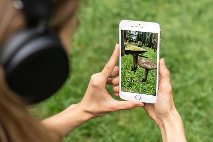 Zu sehen ist der Ausschnitt einer jungen Frau auf einer Wiese, die ein Handy in der Hand hat, auf dessen Screen Pilze auf der Wiese erscheinen.