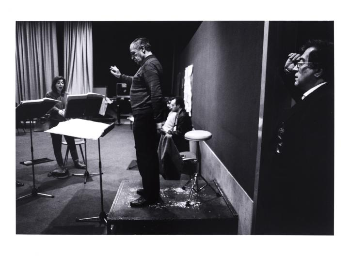 Luciano Berio listening to his piece conducted by Pierre Boulez during rehearsal in Paris