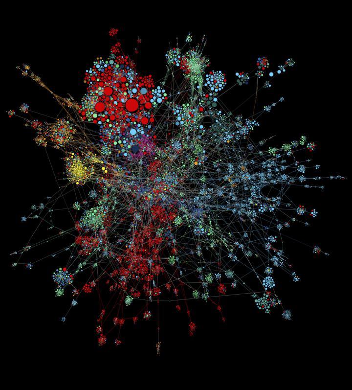 Zu sehen ist eine Visualisierung eines Netzwerkes. Das Netzwerk besteht aus mehreren, farblich gekennzeichneten Gruppierungen.