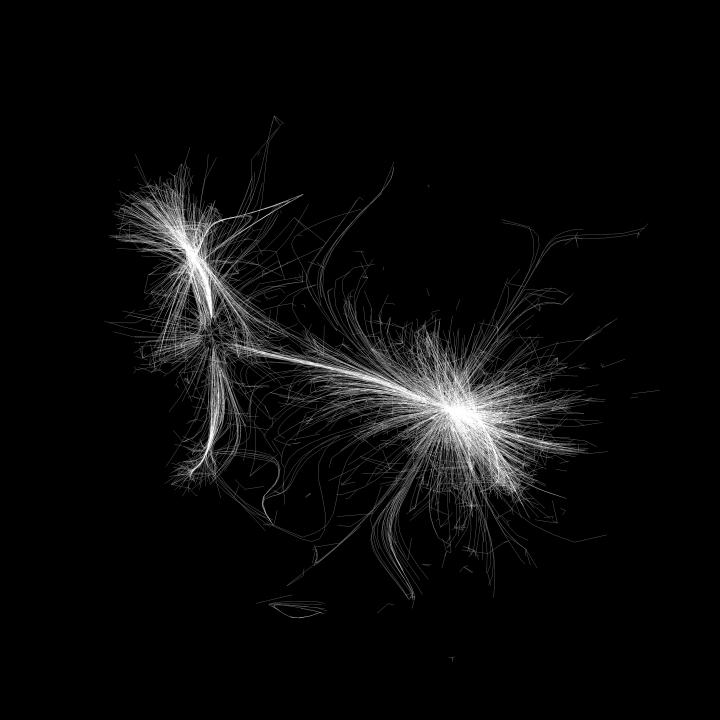 A visualisation of a network. It resembles fringed white threads on a black background