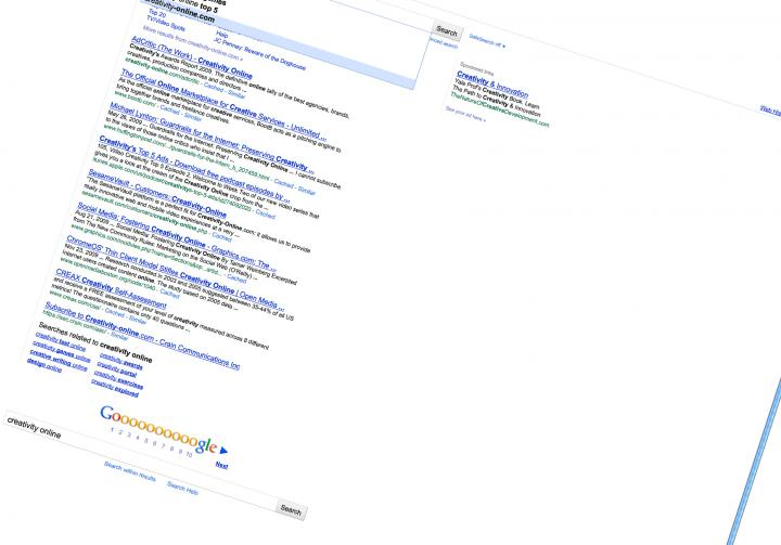 Screenshot of a twisted Google search website with the search »creativity online«.