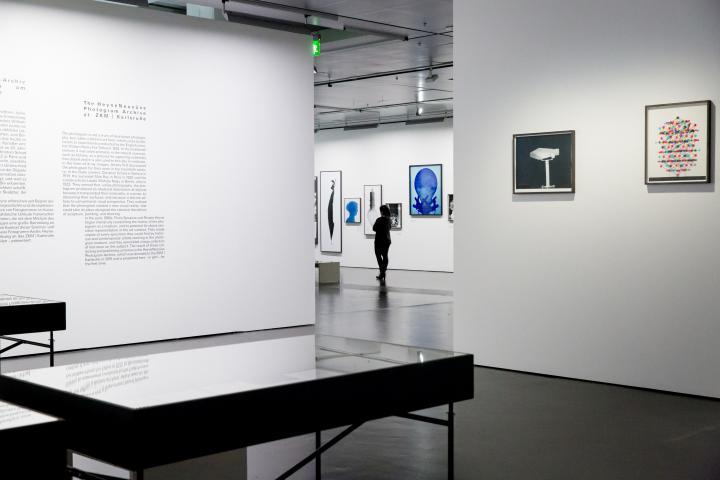 Blick in die Ausstellung »Leibniz' Lager«, in der eine Frau geht