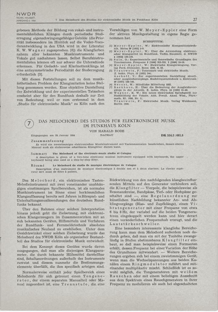 Harald Bode: »Das Melochord des Studios für elektronische Musik im Funkhaus Köln« (1954)