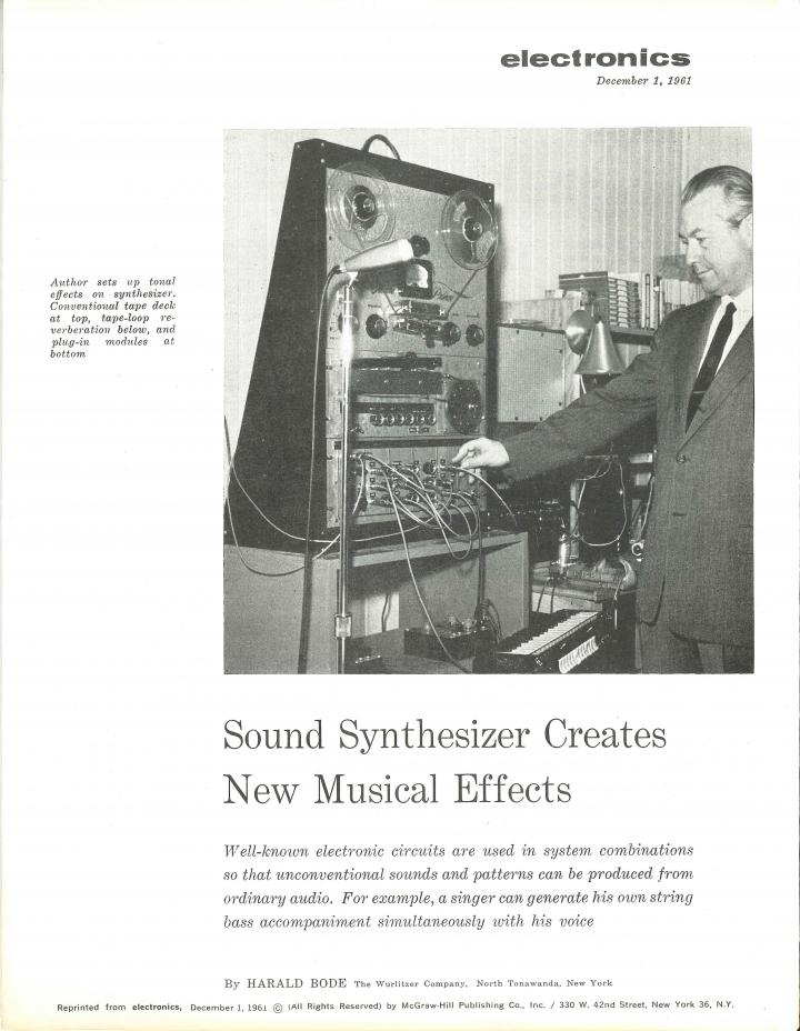 Harald Bode: »Sound Synthesizer Creates New Musical Effects« (1961)