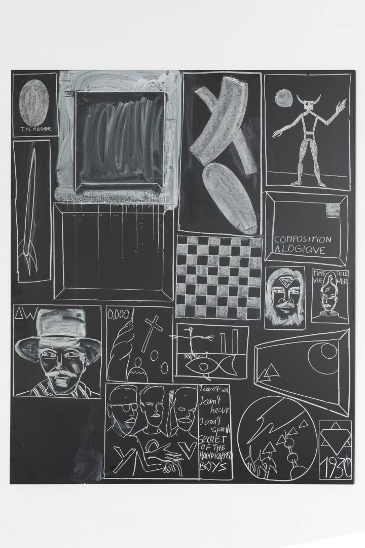 Künstlertafel von Andy Hope 1930: Weiße Zeichnungen auf schwarzem Grund