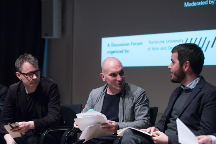 Florian Cramer, Matteo Pasquinelli and Daniel Irrgang at the panel discussion