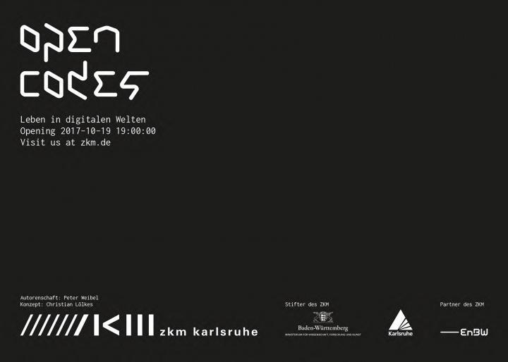White lettering on black background: Open Codes. Living in digital worlds