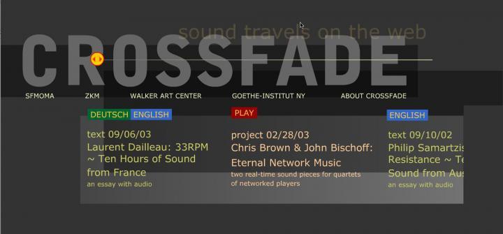 Screenshot der Website »Crossfade«