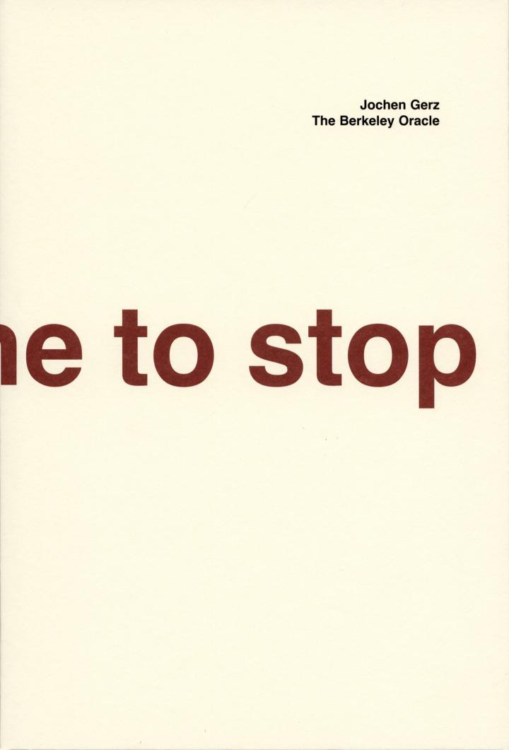 Cover der Publikation »Jochen Gerz. Das Berkeley Orakel / The Berkeley Oracle«