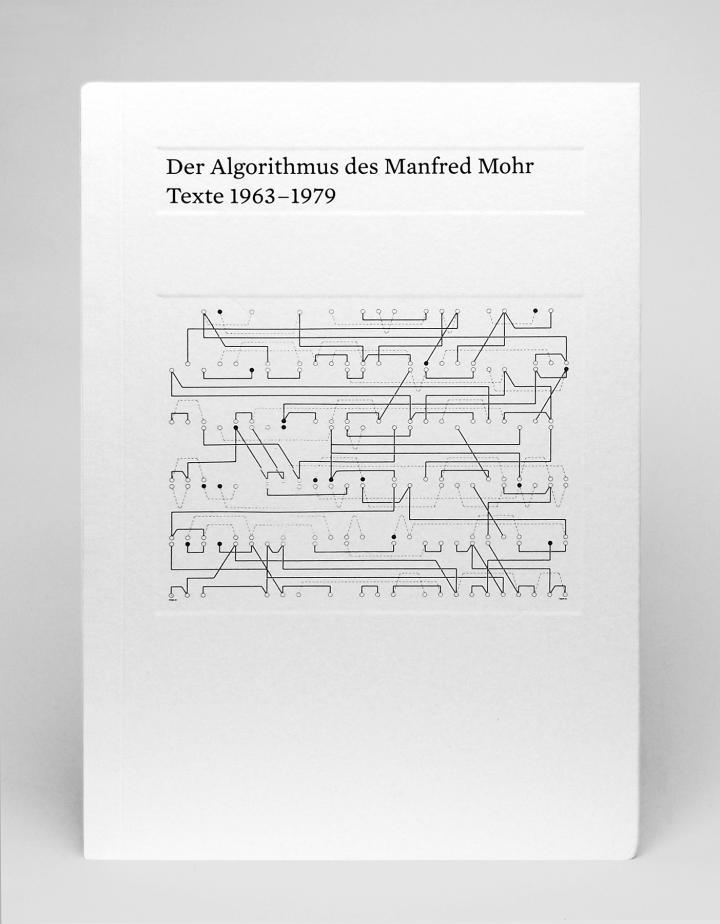 Cover der Publikation »Der Algorithmus des Manfred Mohr«: schwarzer Text und eine feine Linienzeichnung auf weißem Grund.