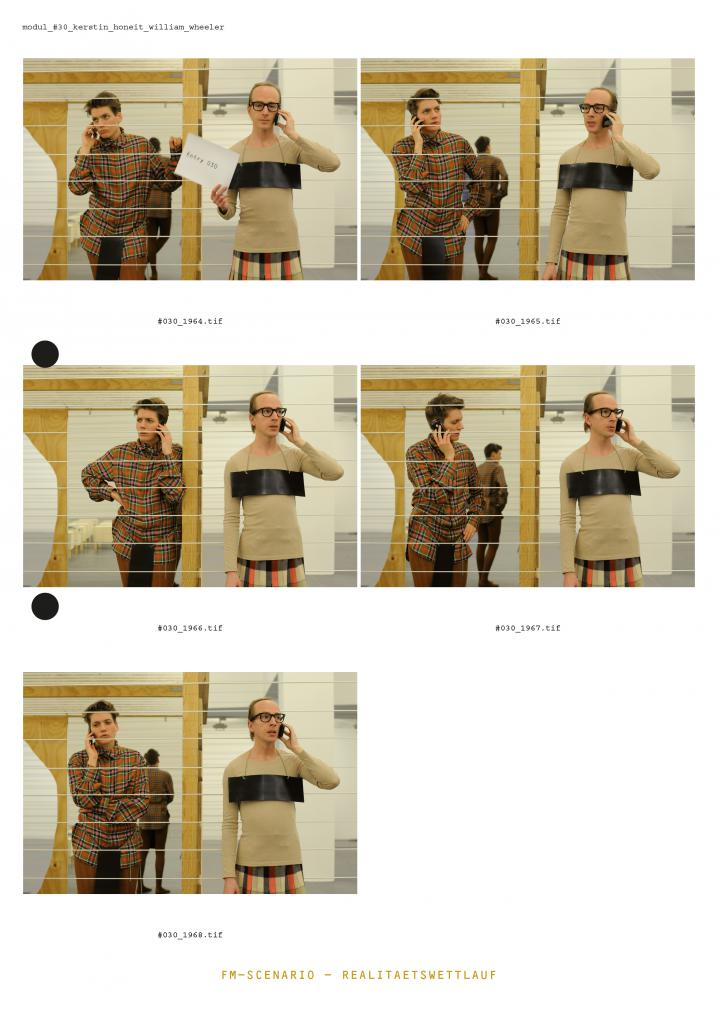 Das Cover der Publikation »Eran Schaerf. FM-Scenario – Realitätswettlauf« zeigt eine Reihe von Fotos, die während einer Performance entstanden. Ein Mann und eine Person ohne eindeutige Geschlechtsidentität telefonieren mit ihrem Handy.