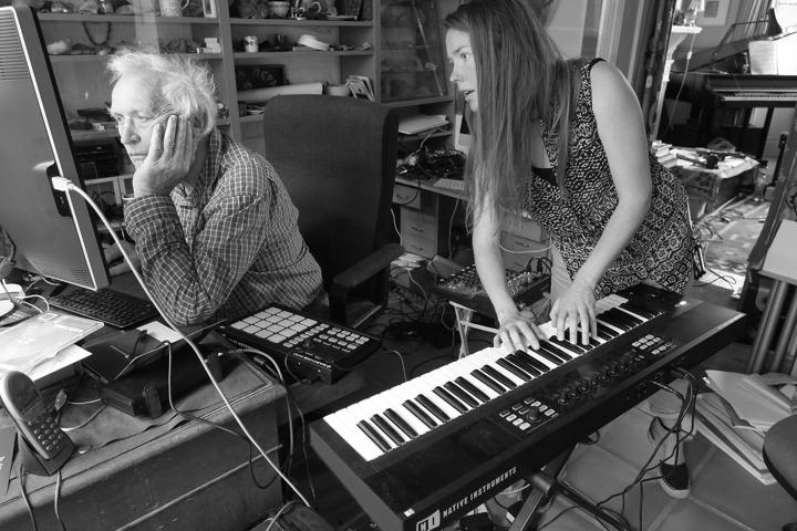 Peter Zinovieff and Lucy Railton working on their music project RFG
