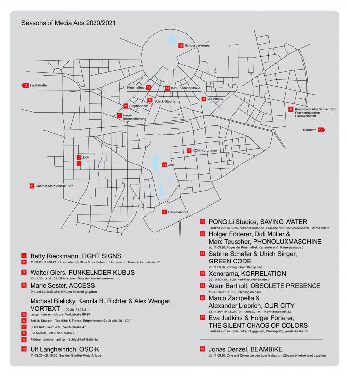 Karte der Stadt Karlsruhe im Rahmen der »Seasons of Media Arts«