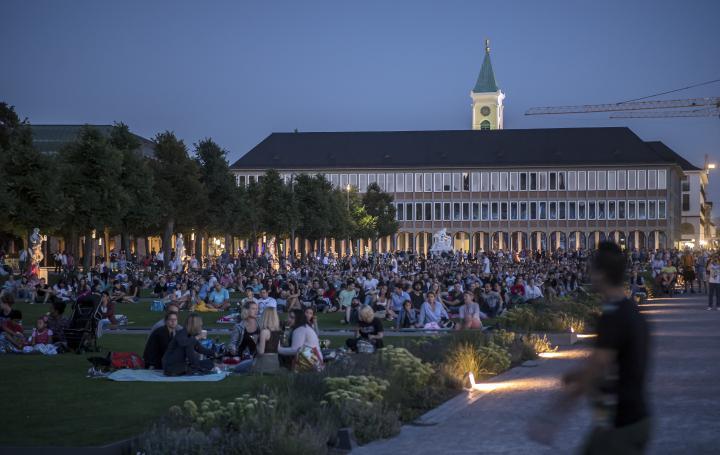 Tausende BesucherInnen auf der Wiese vor dem Karlsruher Schloss