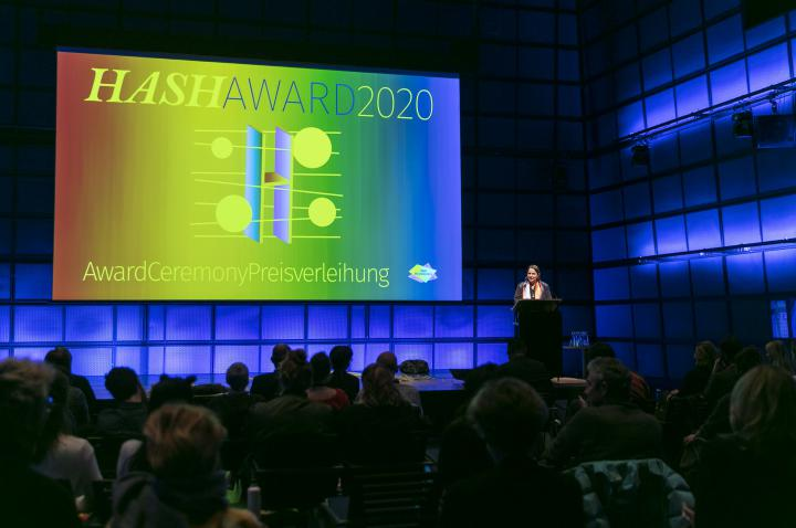 The award ceremony of the HASH Award 2020 with Elke aus dem Moore, Director of the Akademie Schloss Solitude